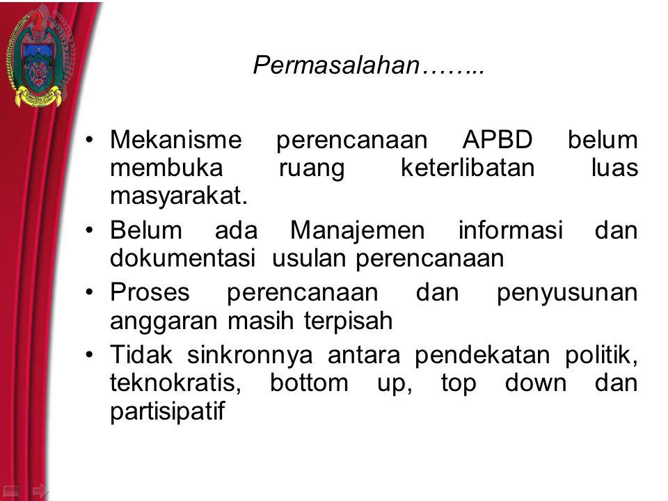 Permasalahan…….. Mekanisme perencanaan APBD belum membuka ruang keterlibatan luas masyarakat.