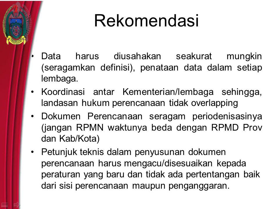 Rekomendasi Data harus diusahakan seakurat mungkin (seragamkan definisi), penataan data dalam setiap lembaga.
