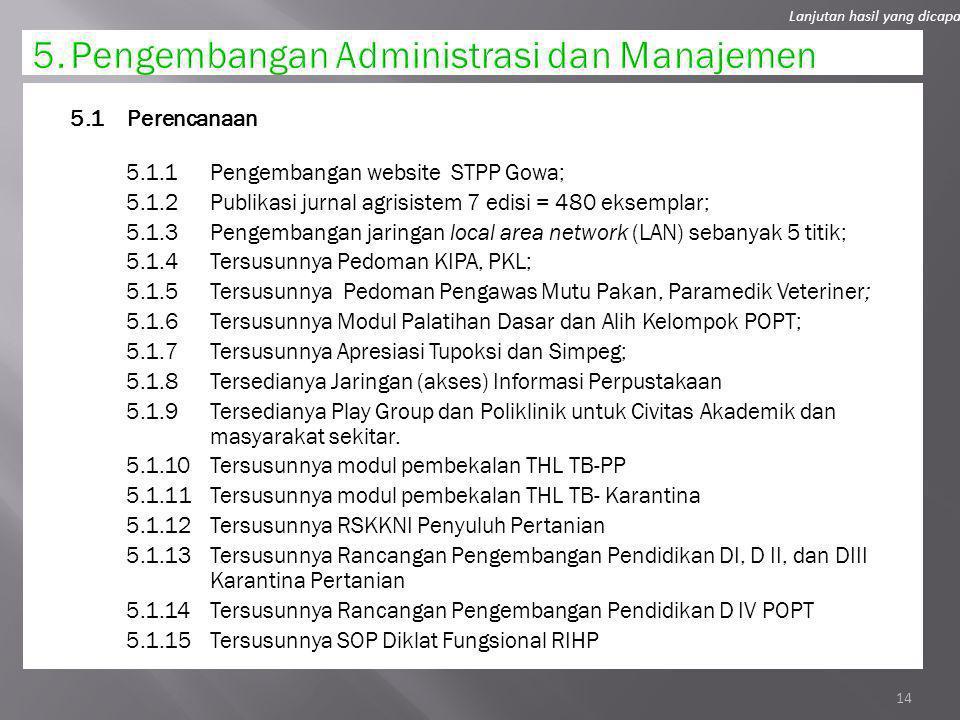 5. Pengembangan Administrasi dan Manajemen