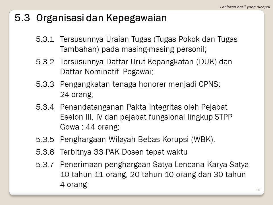 5.3 Organisasi dan Kepegawaian