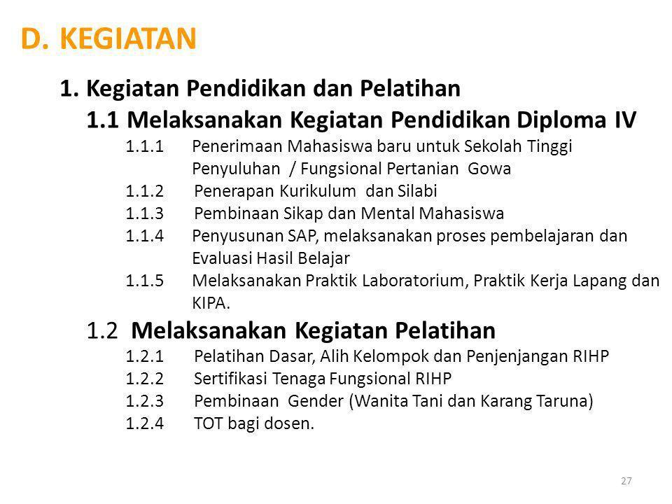 KEGIATAN 1. Kegiatan Pendidikan dan Pelatihan
