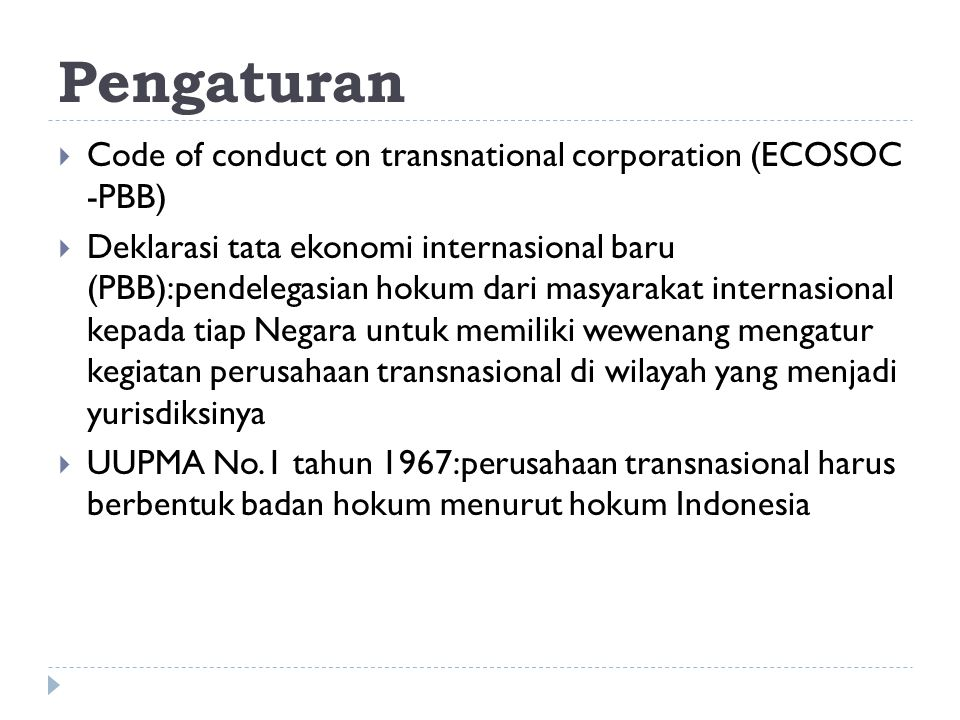 Pengaturan Code of conduct on transnational corporation (ECOSOC -PBB)