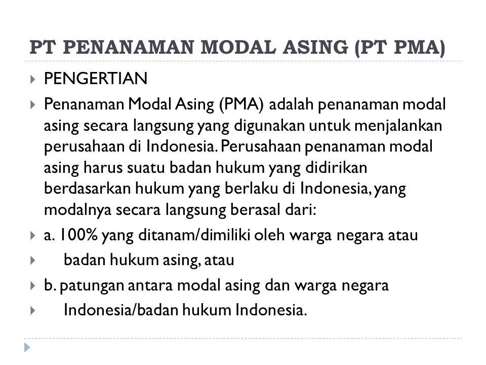 PT PENANAMAN MODAL ASING (PT PMA)