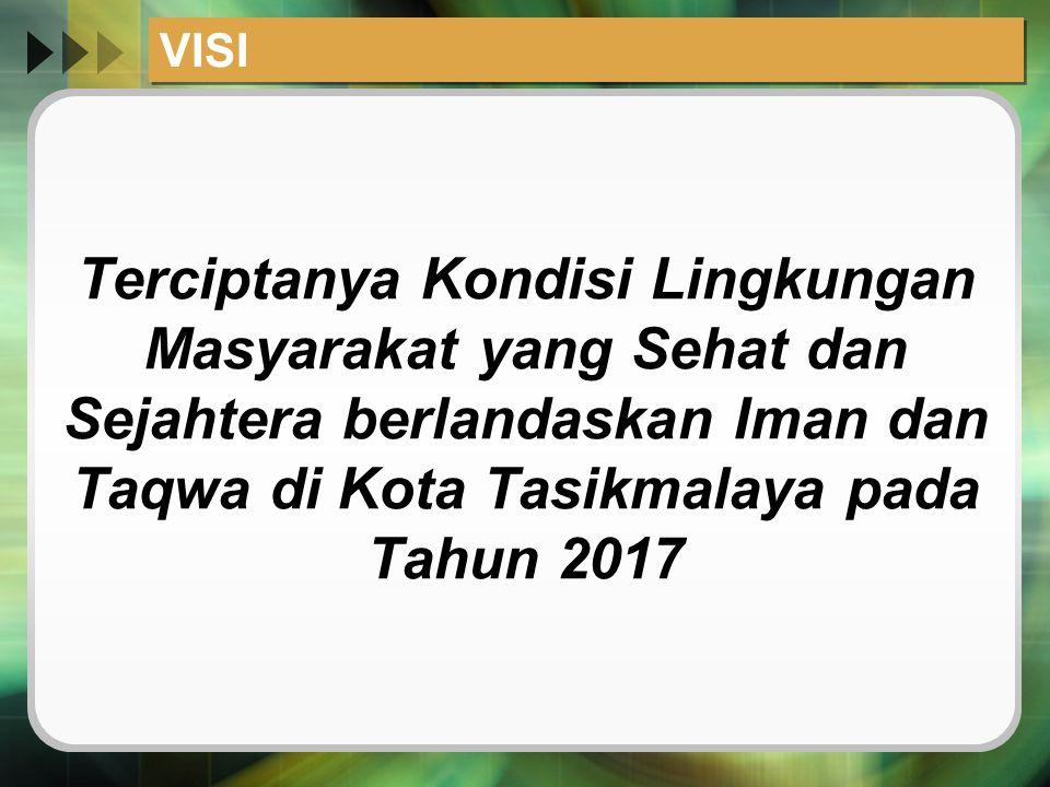 VISI Terciptanya Kondisi Lingkungan Masyarakat yang Sehat dan Sejahtera berlandaskan Iman dan Taqwa di Kota Tasikmalaya pada Tahun 2017.