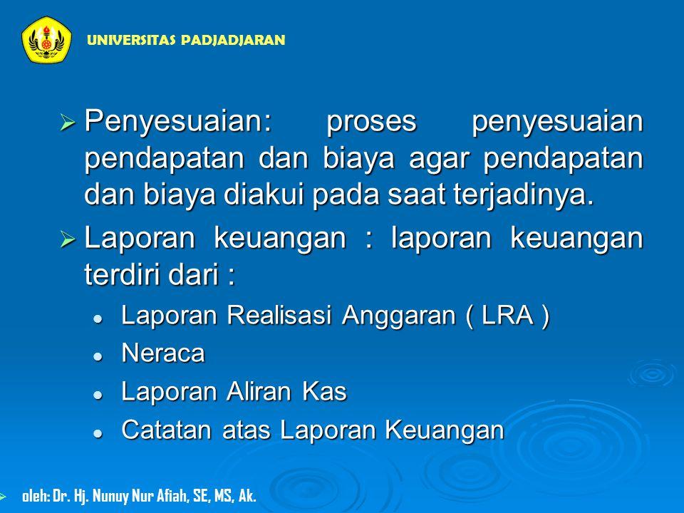 Laporan keuangan : laporan keuangan terdiri dari :