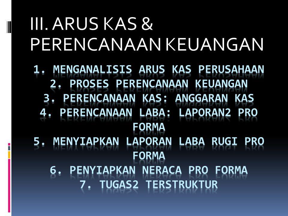 III. ARUS KAS & PERENCANAAN KEUANGAN