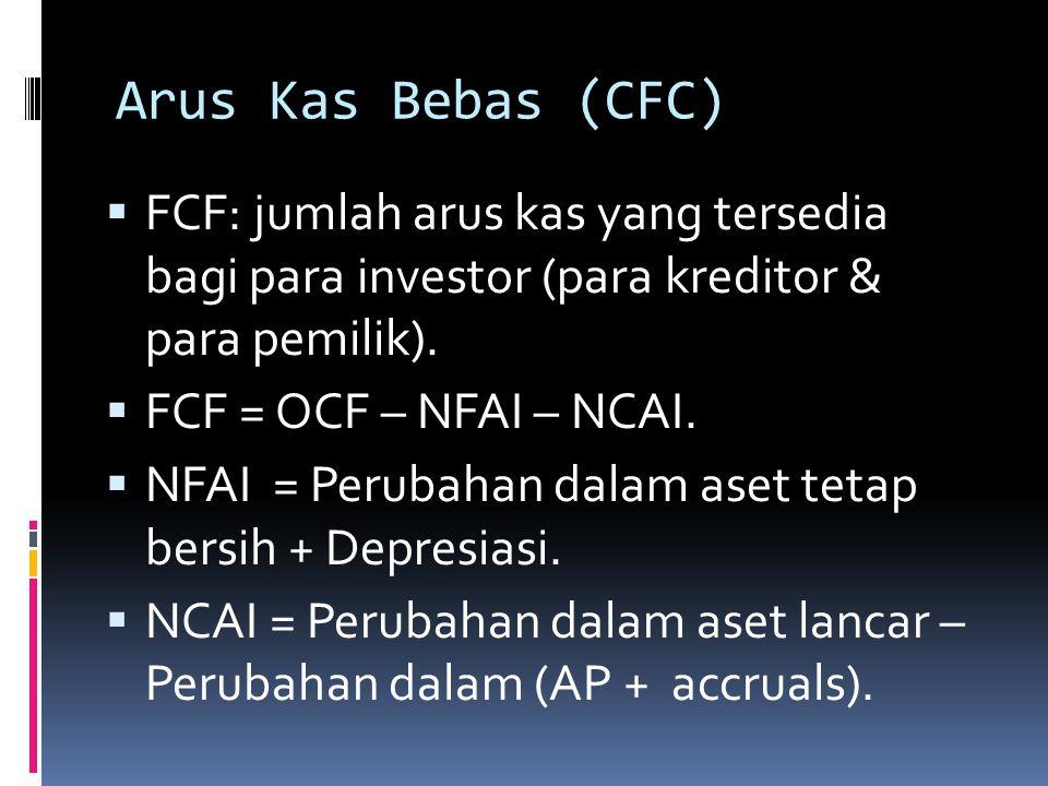 Arus Kas Bebas (CFC) FCF: jumlah arus kas yang tersedia bagi para investor (para kreditor & para pemilik).