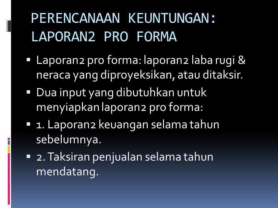 PERENCANAAN KEUNTUNGAN: LAPORAN2 PRO FORMA