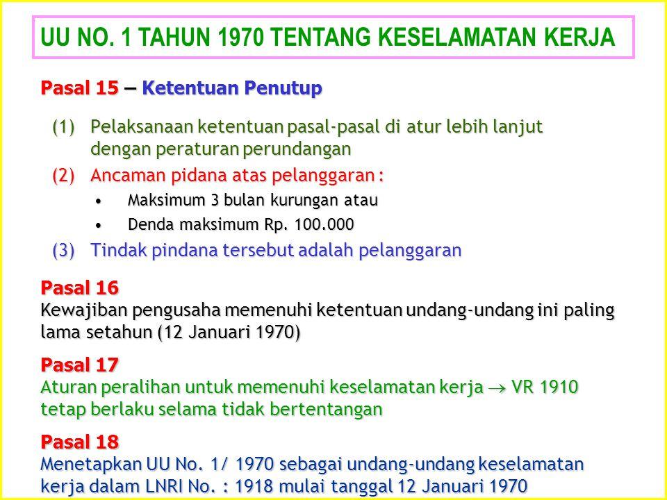 UU NO. 1 TAHUN 1970 TENTANG KESELAMATAN KERJA