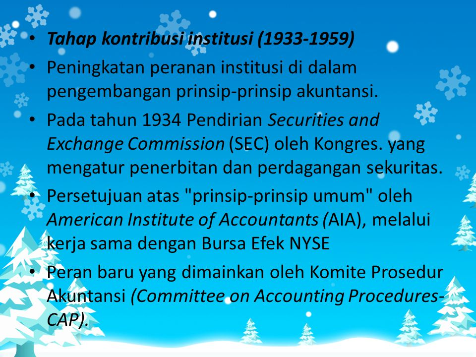 Tahap kontribusi institusi (1933-1959)