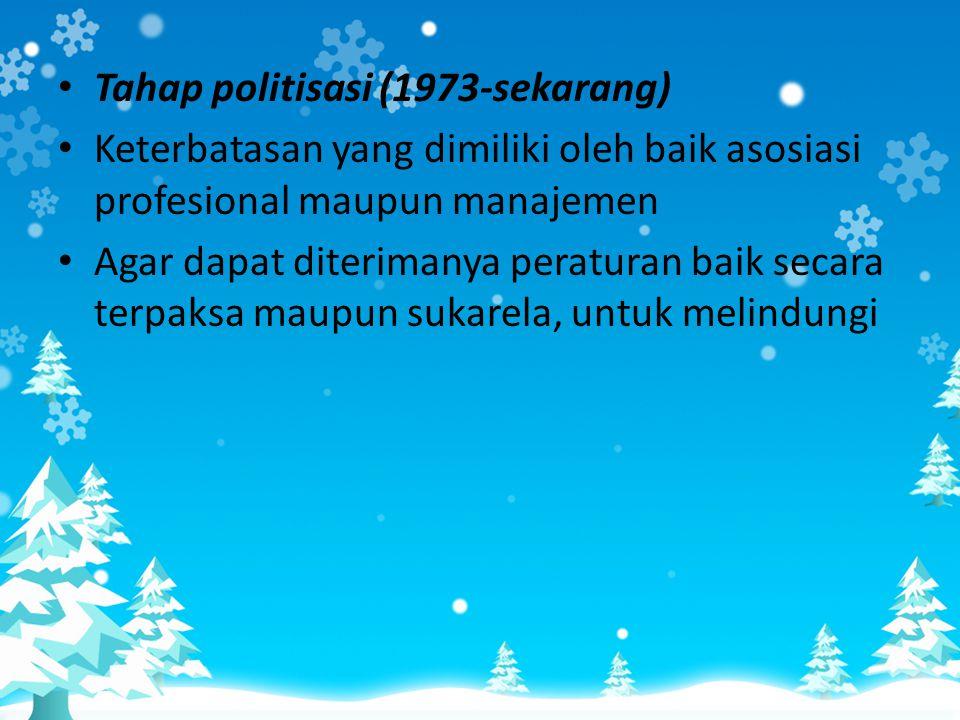 Tahap politisasi (1973-sekarang)