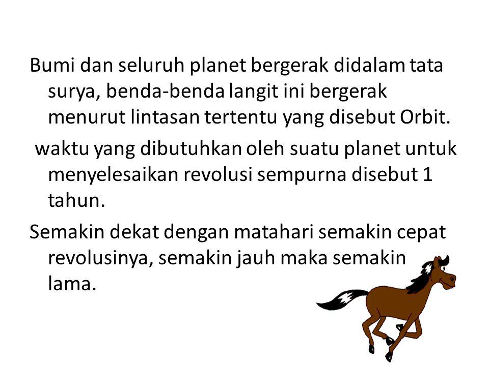 Bumi dan seluruh planet bergerak didalam tata surya, benda-benda langit ini bergerak menurut lintasan tertentu yang disebut Orbit.