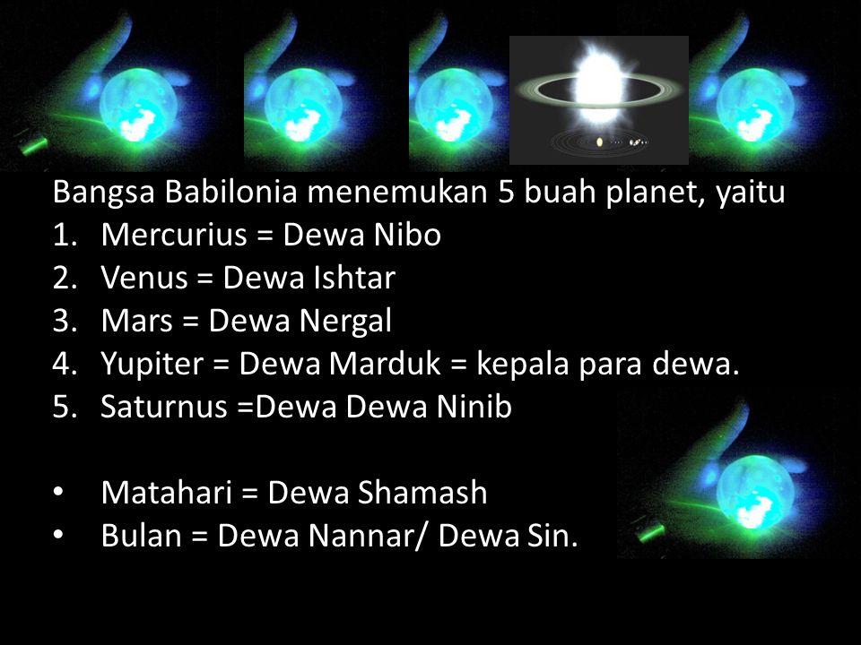 Bangsa Babilonia menemukan 5 buah planet, yaitu