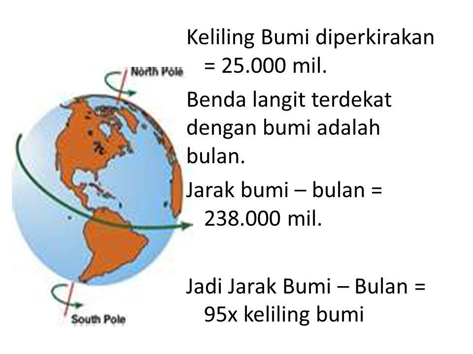 Keliling Bumi diperkirakan = 25. 000 mil