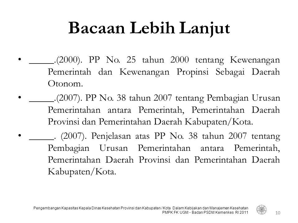 Bacaan Lebih Lanjut _____.(2000). PP No. 25 tahun 2000 tentang Kewenangan Pemerintah dan Kewenangan Propinsi Sebagai Daerah Otonom.