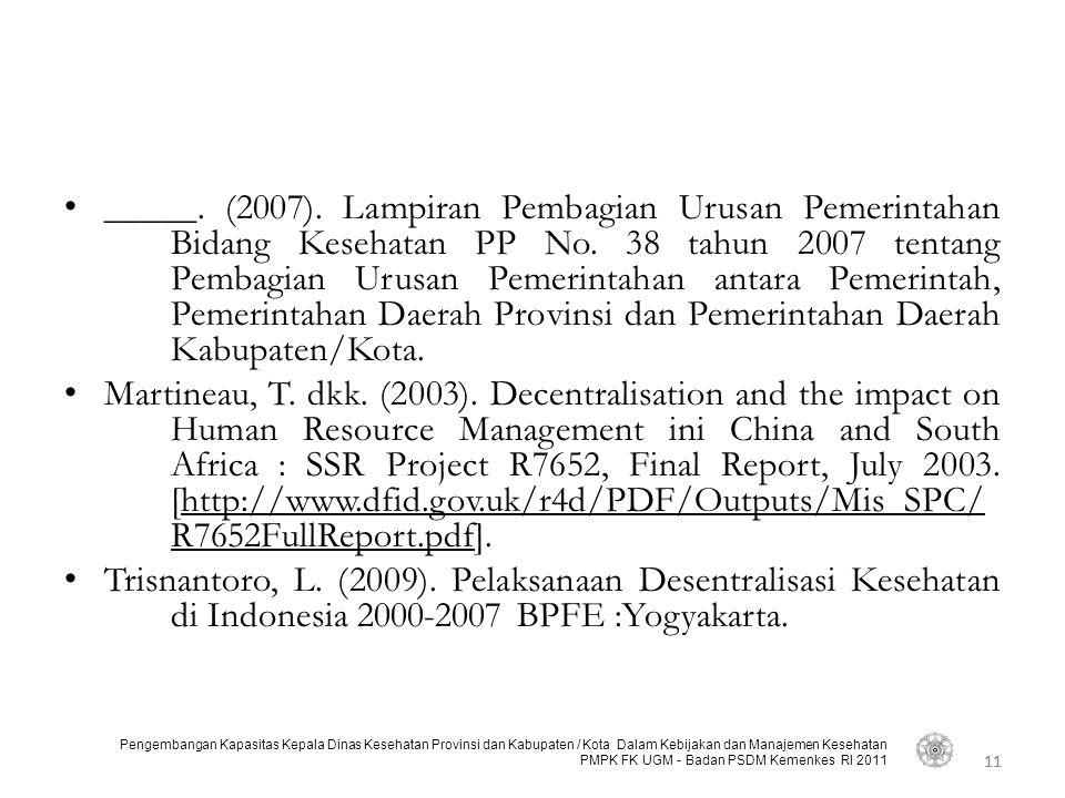 _____. (2007). Lampiran Pembagian Urusan Pemerintahan