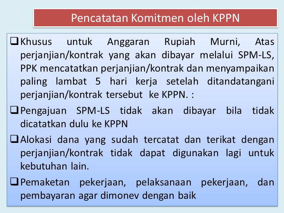 Pencatatan Komitmen oleh KPPN