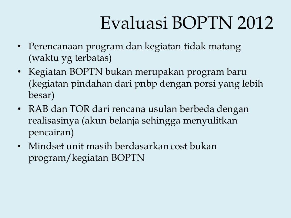 Evaluasi BOPTN 2012 Perencanaan program dan kegiatan tidak matang (waktu yg terbatas)