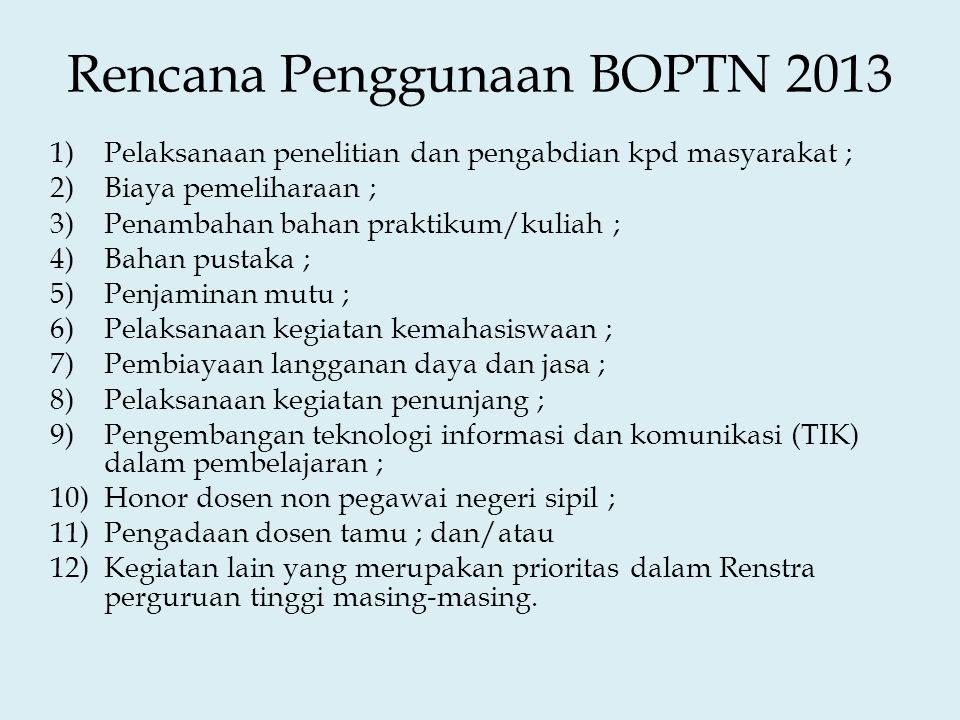 Rencana Penggunaan BOPTN 2013