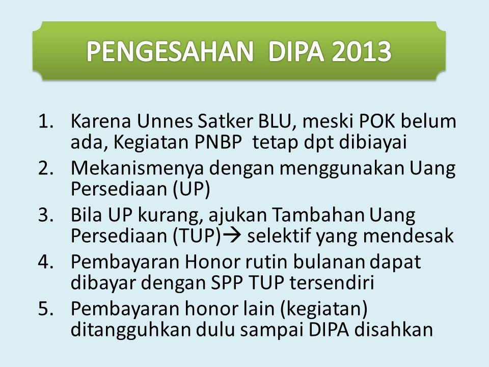PENGESAHAN DIPA 2013 Karena Unnes Satker BLU, meski POK belum ada, Kegiatan PNBP tetap dpt dibiayai.