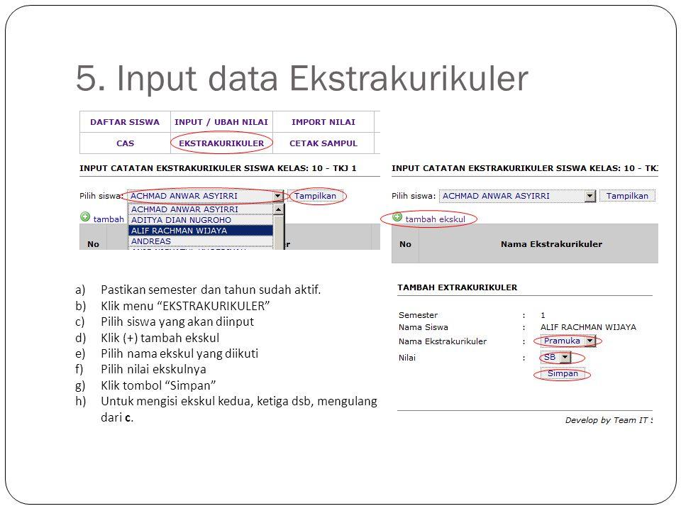 5. Input data Ekstrakurikuler