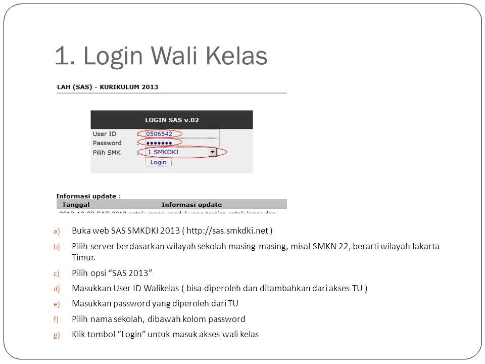 1. Login Wali Kelas Buka web SAS SMKDKI 2013 ( http://sas.smkdki.net )