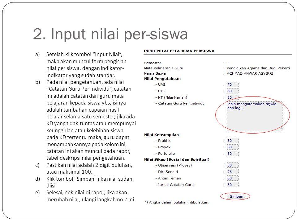 2. Input nilai per-siswa