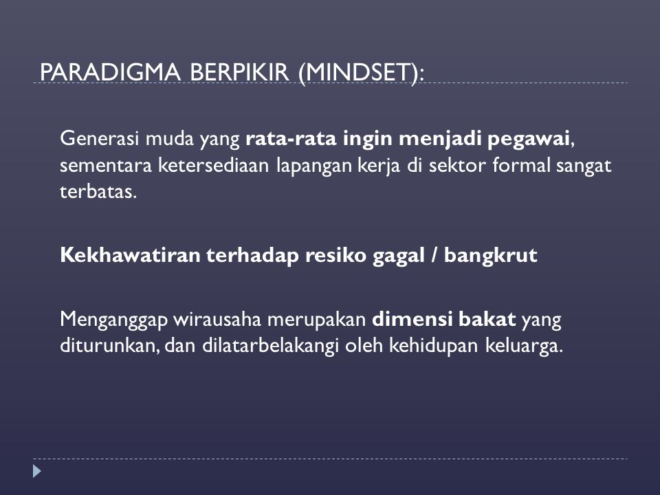 PARADIGMA BERPIKIR (MINDSET):