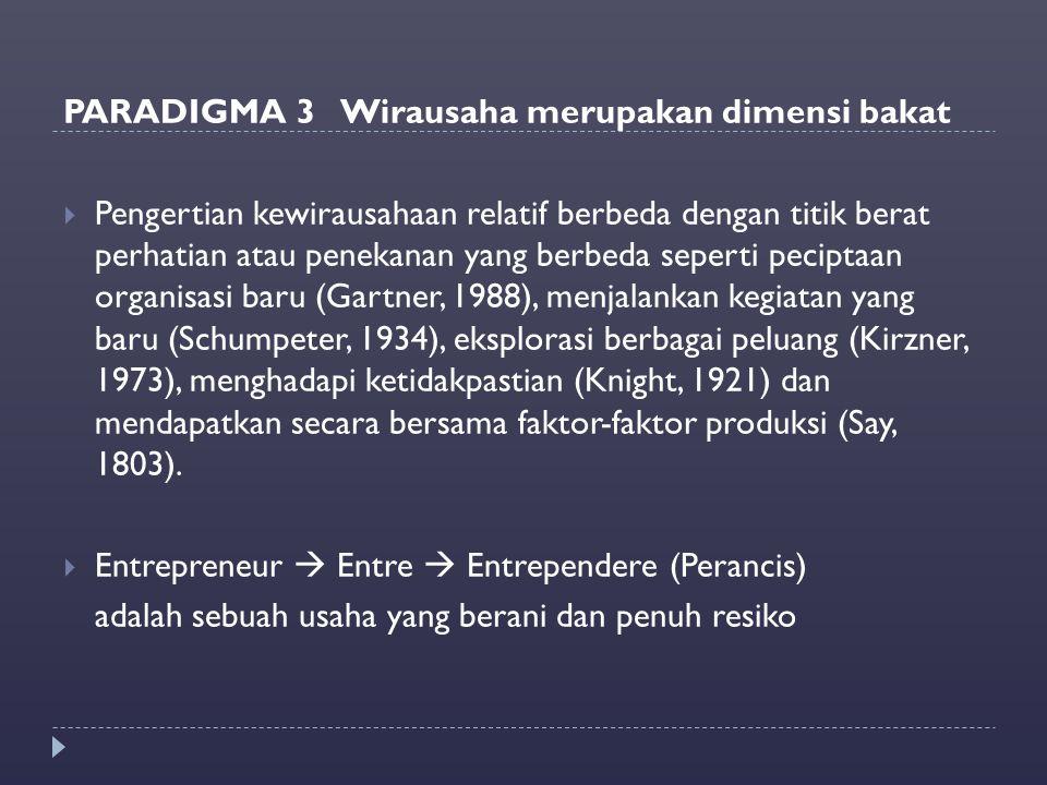 PARADIGMA 3 Wirausaha merupakan dimensi bakat