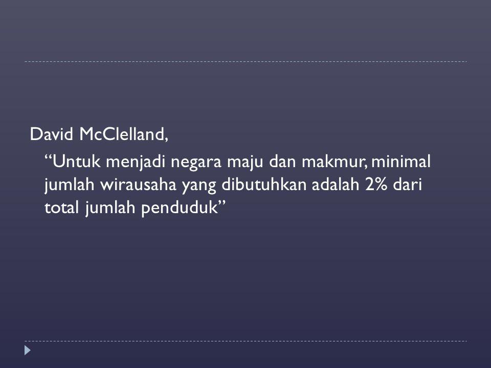 David McClelland, Untuk menjadi negara maju dan makmur, minimal jumlah wirausaha yang dibutuhkan adalah 2% dari total jumlah penduduk