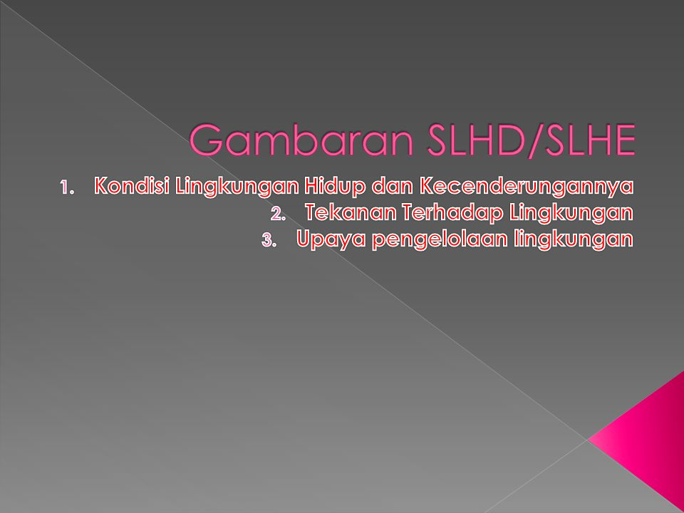 Gambaran SLHD/SLHE Kondisi Lingkungan Hidup dan Kecenderungannya