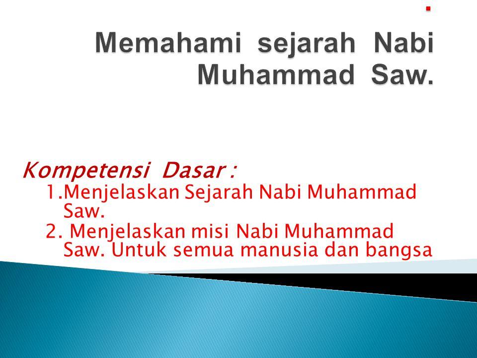Standar Kompetensi : Memahami sejarah Nabi Muhammad Saw.