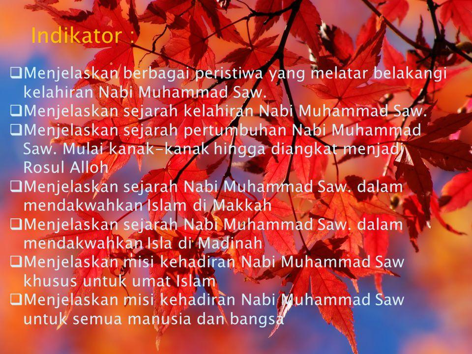 Indikator : Menjelaskan berbagai peristiwa yang melatar belakangi kelahiran Nabi Muhammad Saw. Menjelaskan sejarah kelahiran Nabi Muhammad Saw.