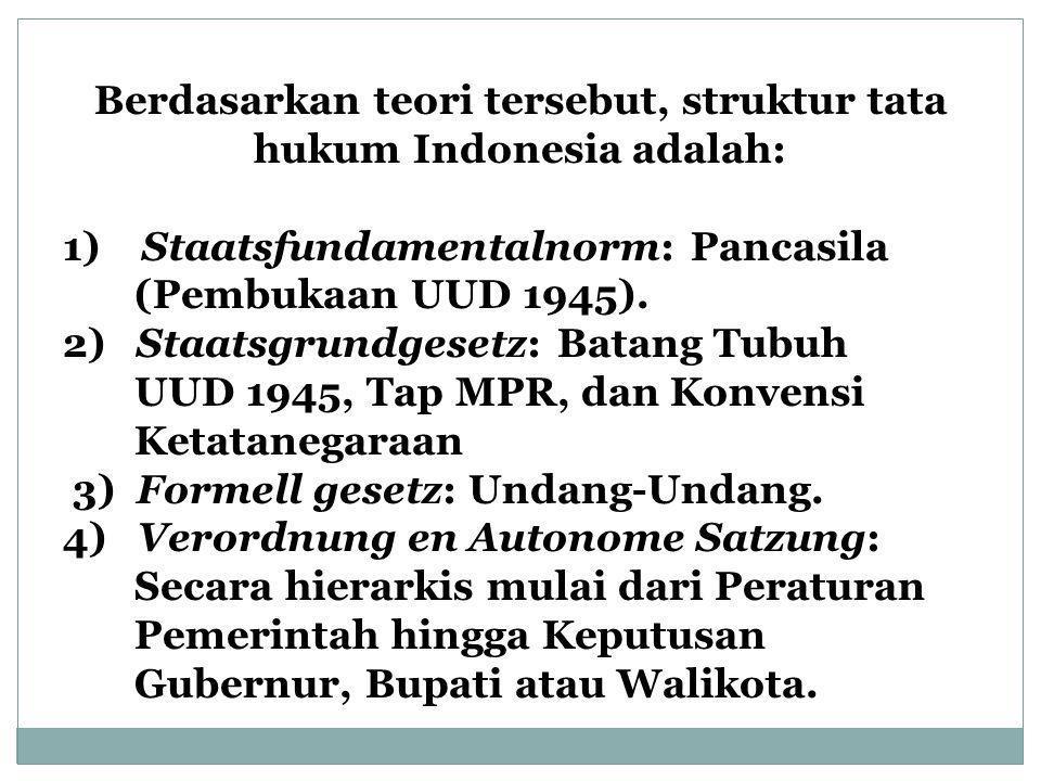 Berdasarkan teori tersebut, struktur tata hukum Indonesia adalah: