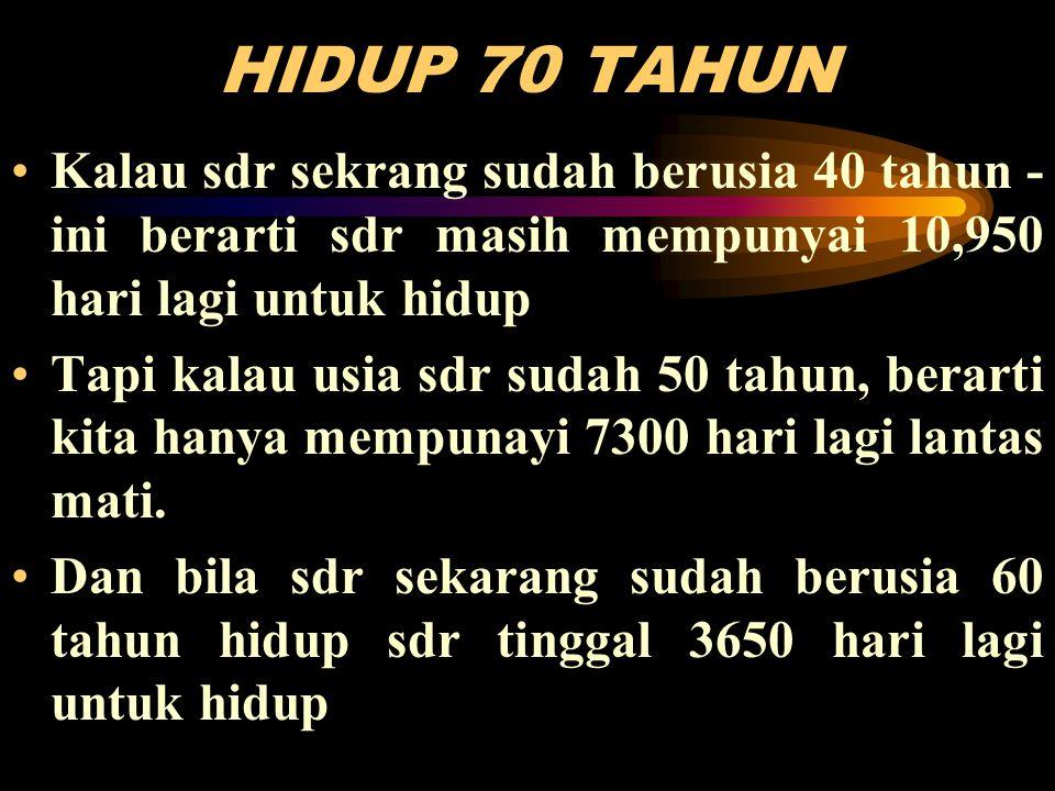 HIDUP 70 TAHUN Kalau sdr sekrang sudah berusia 40 tahun - ini berarti sdr masih mempunyai 10,950 hari lagi untuk hidup.