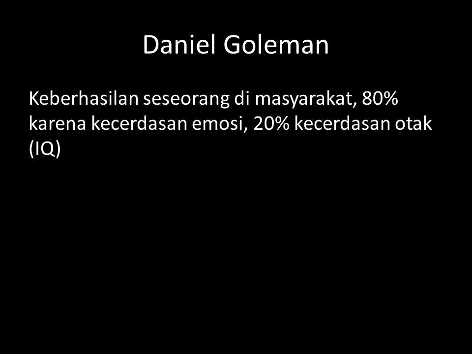 Daniel Goleman Keberhasilan seseorang di masyarakat, 80% karena kecerdasan emosi, 20% kecerdasan otak (IQ)