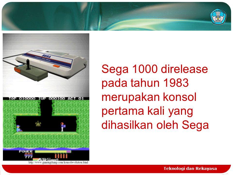 http://www.gamingdump.com/konsolevolution.html Sega 1000 direlease pada tahun 1983 merupakan konsol pertama kali yang dihasilkan oleh Sega.