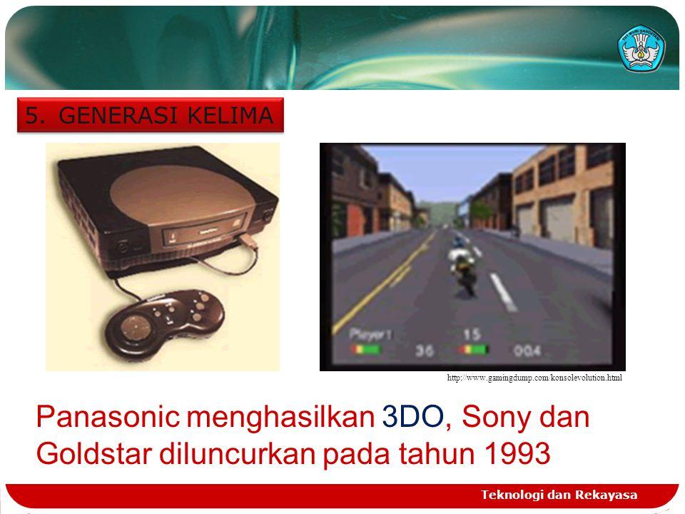 GENERASI KELIMA http://www.gamingdump.com/konsolevolution.html. Panasonic menghasilkan 3DO, Sony dan Goldstar diluncurkan pada tahun 1993.