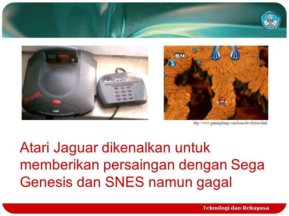http://www.gamingdump.com/konsolevolution.html Atari Jaguar dikenalkan untuk memberikan persaingan dengan Sega Genesis dan SNES namun gagal.