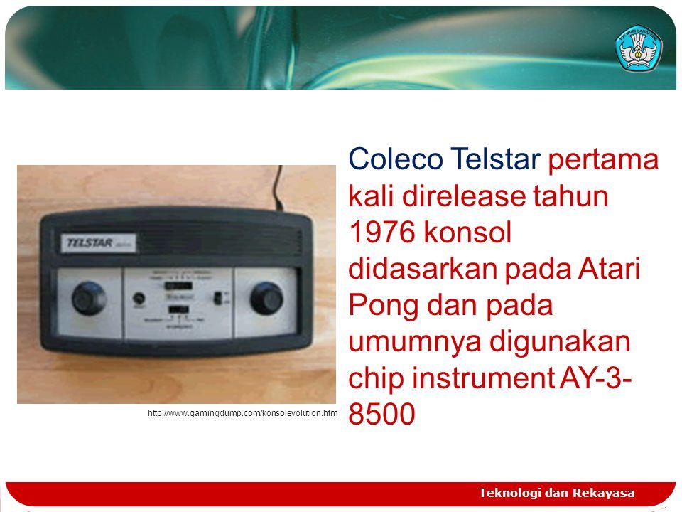 Coleco Telstar pertama kali direlease tahun 1976 konsol didasarkan pada Atari Pong dan pada umumnya digunakan chip instrument AY-3-8500