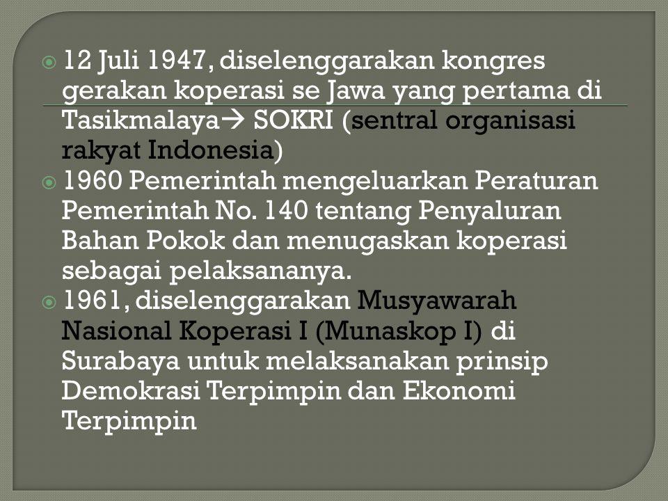 12 Juli 1947, diselenggarakan kongres gerakan koperasi se Jawa yang pertama di Tasikmalaya SOKRI (sentral organisasi rakyat Indonesia)