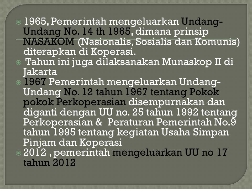 1965, Pemerintah mengeluarkan Undang-Undang No
