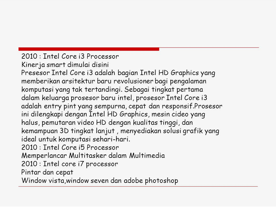 2010 : Intel Core i3 Processor