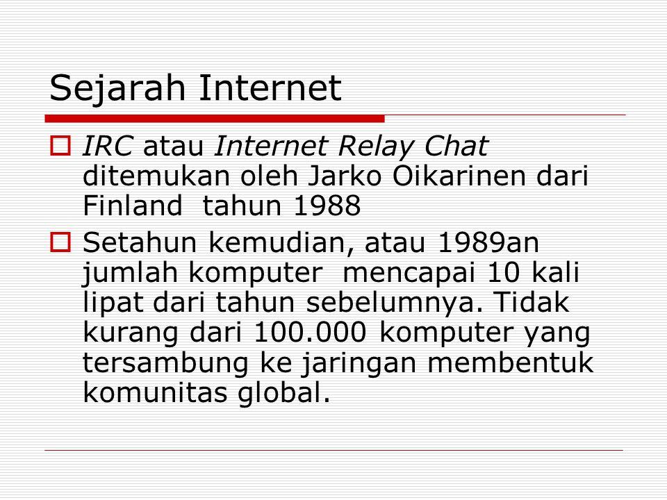 Sejarah Internet IRC atau Internet Relay Chat ditemukan oleh Jarko Oikarinen dari Finland tahun 1988.