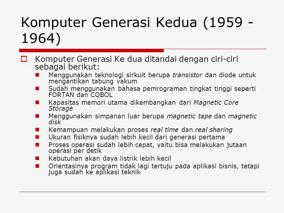 Komputer Generasi Kedua (1959 - 1964)