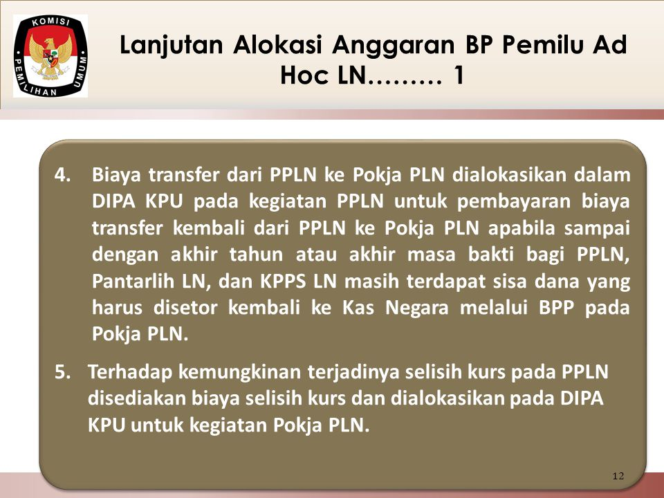 Lanjutan Alokasi Anggaran BP Pemilu Ad Hoc LN……… 1