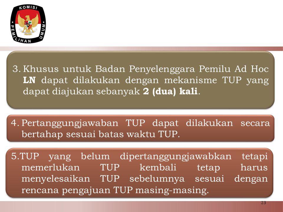 Khusus untuk Badan Penyelenggara Pemilu Ad Hoc LN dapat dilakukan dengan mekanisme TUP yang dapat diajukan sebanyak 2 (dua) kali.