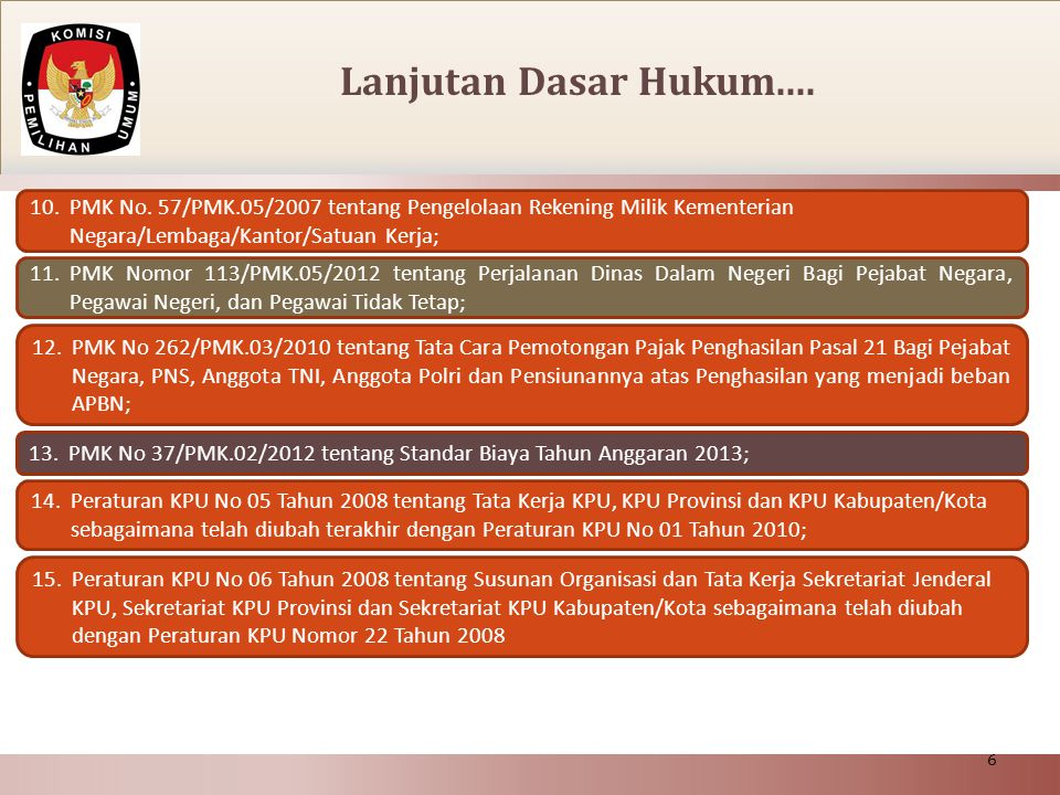 Lanjutan Dasar Hukum.... PMK No. 57/PMK.05/2007 tentang Pengelolaan Rekening Milik Kementerian Negara/Lembaga/Kantor/Satuan Kerja;
