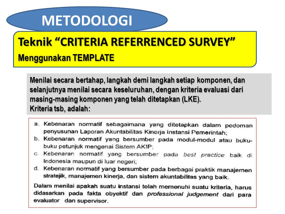 METODOLOGI Teknik CRITERIA REFERRENCED SURVEY Menggunakan TEMPLATE