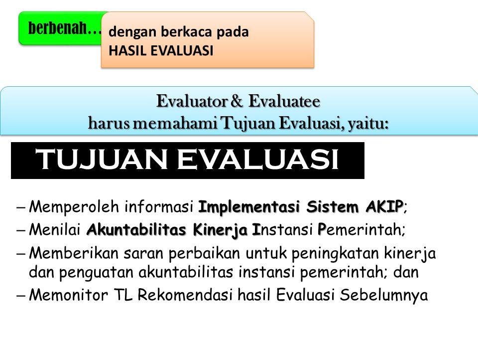 Evaluator & Evaluatee harus memahami Tujuan Evaluasi, yaitu: